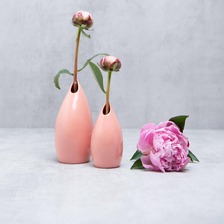 Goccia Coral Pink Ceramic Vase Pianca Ceramics Pottery Studio Uk