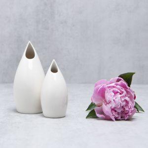 Pianca Ceramics - white ceramic bud vase - white minimalist living room - white home accessories - small white ceramic vase - white ceramic vase