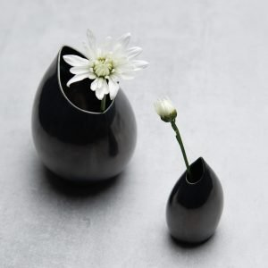 Pianca Ceramics - black metallic vase - metallic ceramic vase -
