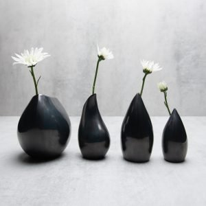 Pianca Ceramics - black metallic vase - metallic ceramic vase - metallic flower vase - modern metallic vase