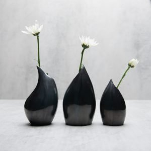 Pianca Ceramics - metallic ceramic vase - - metallic flower vase - modern metallic vase