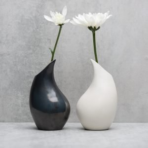 Pianca Ceramics - white vase design - pottery vases handmade - vase handmade - unique vases for centerpieces - - modern metallic vase - white vase design