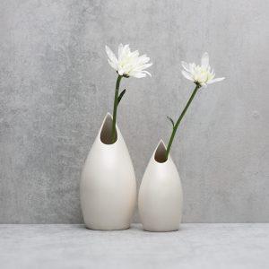 Pianca Ceramics - unique white vase - satin vase
