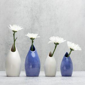 Pianca Ceramics - unique white vase -purple bud vase - satin vase -violet vase -